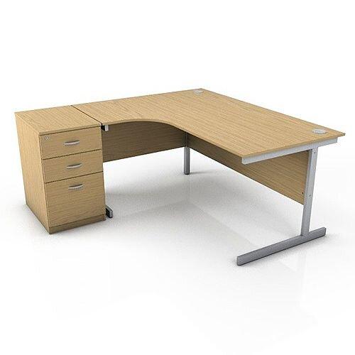 Ashford 1600mm Left Hand Radial Office Desk Metal Leg With FREE Desk High Pedestal BEECH