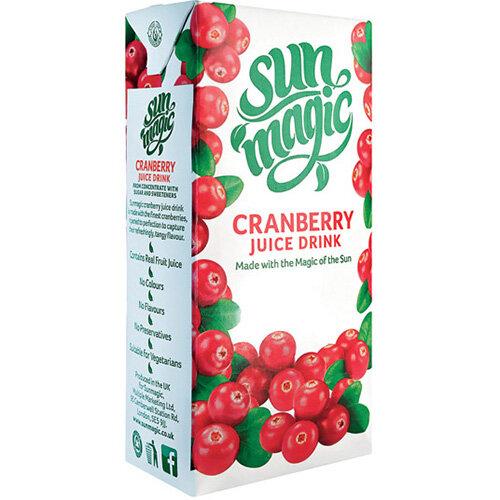 Sunmagic Premium Cranberry Juice Drink 1 Litre Pack of 12 A08111