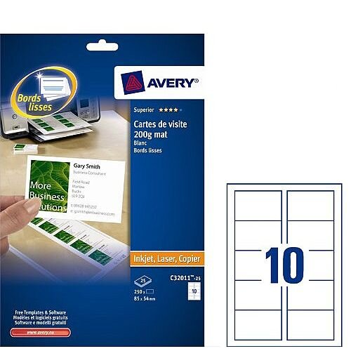 Avery C32011-25 Business Cards 85 x 54mm 10 per Sheet 250 Cards