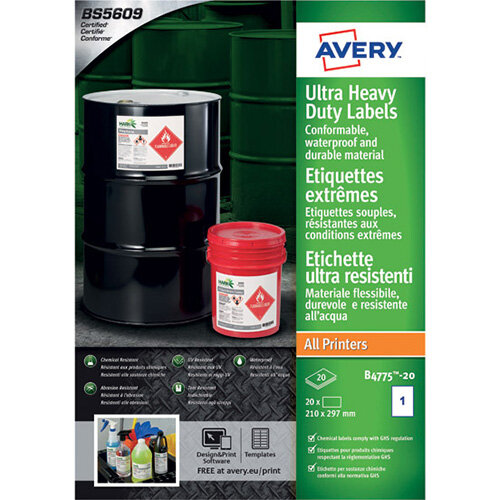 Avery Ultra Resistant Labels 210x297mm Pack of 20 B4775-20