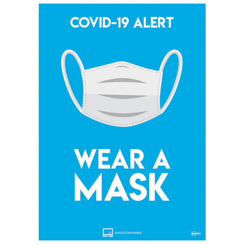Avery Wear A Mask Poster A4 Pack of 2 COVWMA4