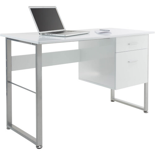 Alphason Cabrini Home Office Desk White with Silver Frame W1200xD600xH760mm