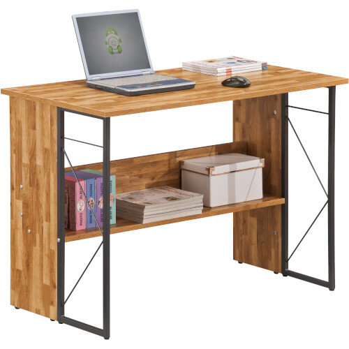 Alphason Rhodes Home Office Desk Walnut with Grey Steel Frame W1110xD550xH760mm