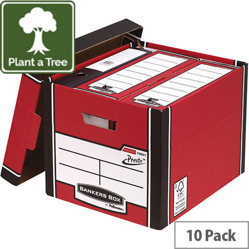 Fellowes Bankers Box Premium 726 Tall Archive Storage Box Red and White Pack of 12 for the Price of 10
