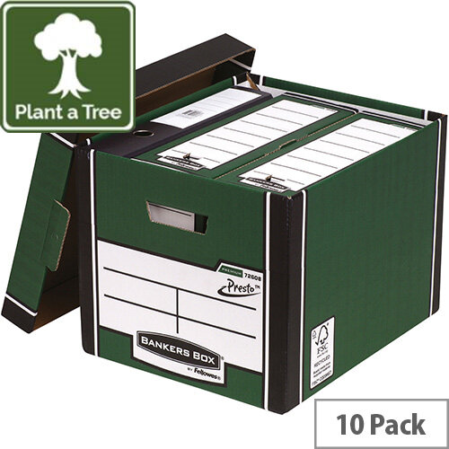 Fellowes Bankers Box Premium 726 Tall Archive Storage Box Green and White Pack of 10