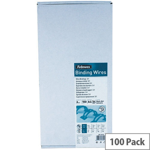 Fellowes 6mm Black Wire Binding Element Pack of 100 53218