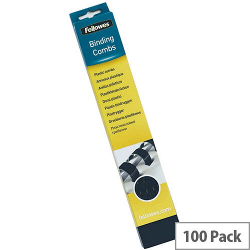 Fellowes Black A4 Binding Combs 16mm Pack of 100