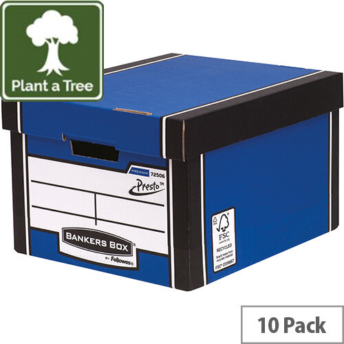 Fellowes Bankers Box Premium 725 Classic Archive Storage Box Blue  Pack of 12 for the Price of 10