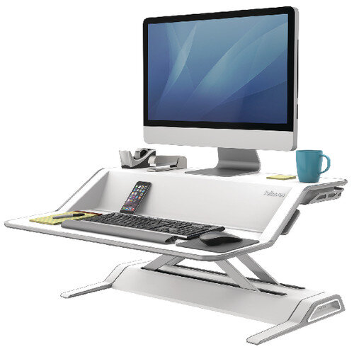 Fellowes Lotus Height Adjustable Sit Stand Desktop Workstation White. Improve Posture, Decrease Back/Neck Pain &Reduce Risk Of Heart Disease &Cardiovascular Issues. Ref 0009901