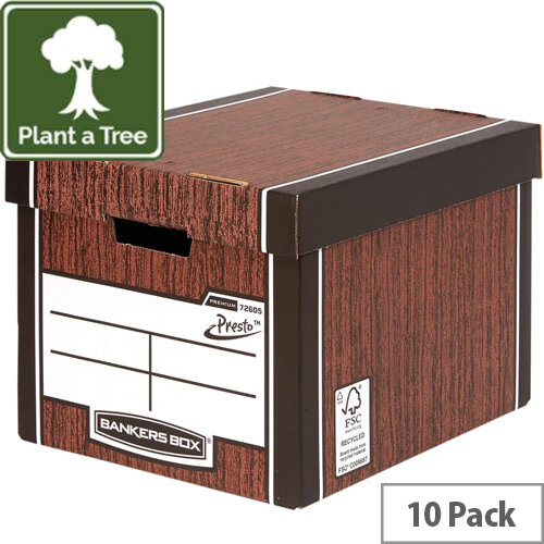 Fellowes Bankers Box Premium 726 Tall Archive Storage Box Woodgrain Pack of 12 for the Price of 10