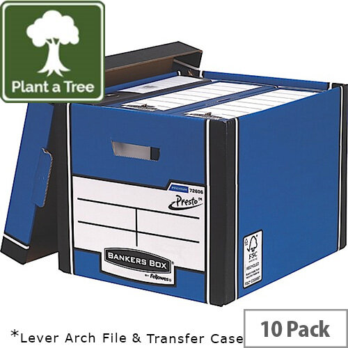 Fellowes Bankers Box Premium 726 Tall Archive Storage Box Blue and White Pack of 12 for the Price of 10
