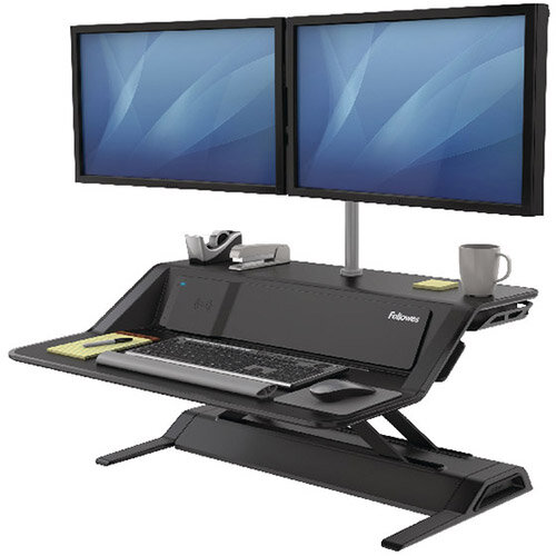 Fellowes Lotus DX Height Adjustable Sit Stand Desktop Workstation with Built in Wireless Charging and USB Connectivity, Black. Improve Posture, Decrease Back/Neck Pain &Reduce Risk Of Heart Disease &Cardiovascular Issues. Ref 8080301