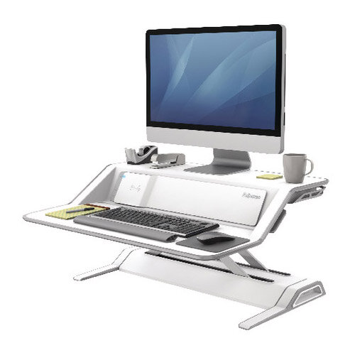 Fellowes Lotus DX Height Adjustable Sit Stand Desktop Workstation with Built in Wireless Charging and USB Connectivity, White. Improve Posture, Decrease Back/Neck Pain &Reduce Risk Of Heart Disease &Cardiovascular Issues. Ref 8080201