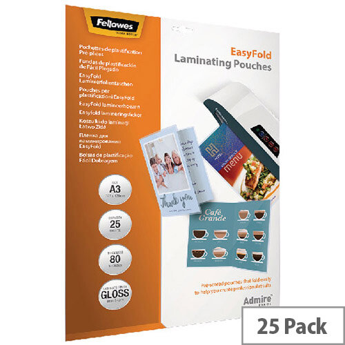 Fellowes Admire EasyFold A3 Laminating Pouches 160 Micron Pack of 25 5602001