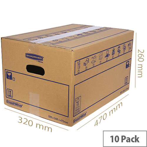 Bankers Box SmoothMove Standard Moving Box 320 x 260 x 470mm Pack of 10 6207201