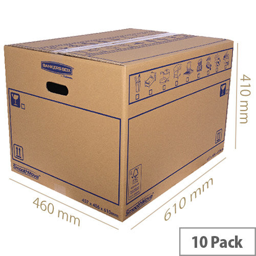 Bankers Box SmoothMove Standard Moving Box 460 x 410 x 610mm Pack of 10 6207501