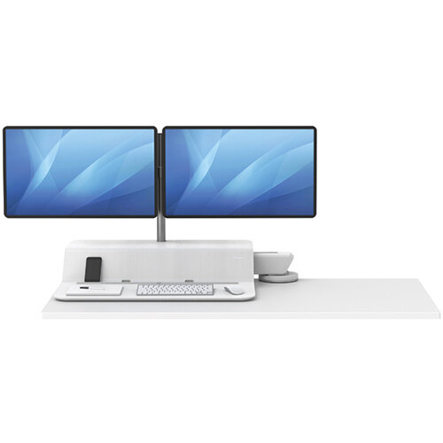 Fellowes Lotus Sit Stand Work Station Single Screen White 8081601