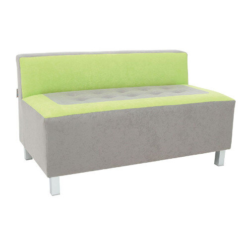 Comfortable And Solid Grey And Green Coloured Sofa Metal Legs