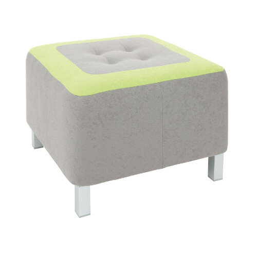 Comfortable And Solid Grey And Green Coloured Pouf Metal Legs