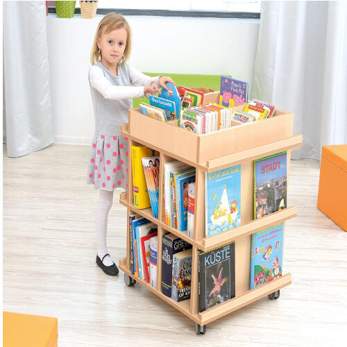 Bookcase Flexi With Wheels 4 Compartments On Top &On Opposite Sides 60x60x78cm