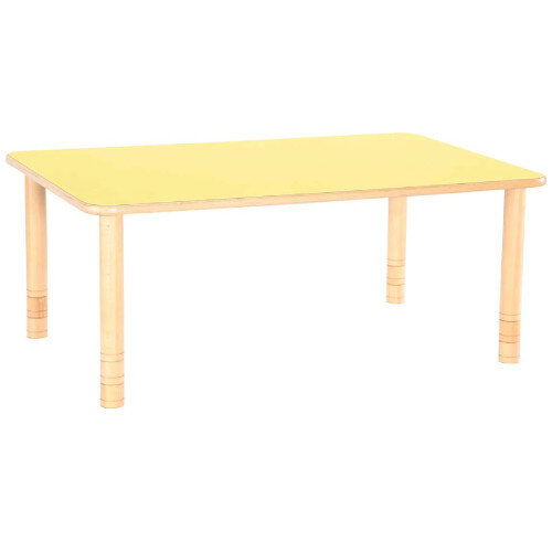 Flexi Rectangular Height Adjustable Table 64-76cm Yellow Top