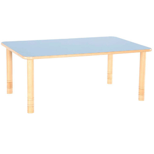 Flexi Rectangular Height Adjustable Table 64-76cm Blue Top