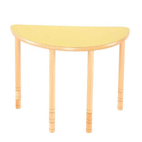Flexi Half Round Height Adjustable Table 48-58cm Yellow Top