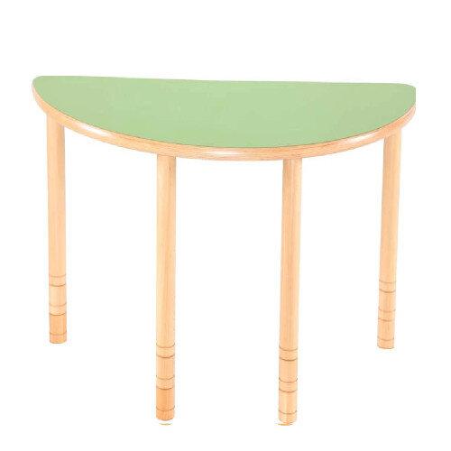 Flexi Half Round Height Adjustable Table 48-58cm Green Top