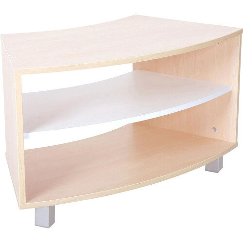 Quadro - Curved Cabinet with Legs - Maple with White Shelf