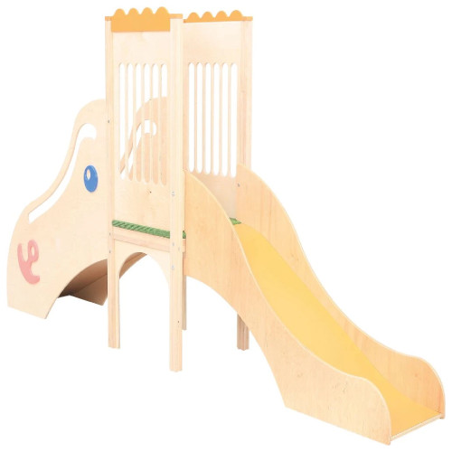 Play Corner with Slide - Plywood and HPL Plate, Natural Wooden Colour - 310 x 60 x 133cm (L/W/H)