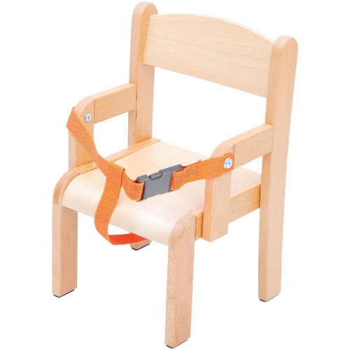 Toddler Chair With Armrest And Safety Belt - 21cm - Correct Posture Support - Safety Belt - Natural Wood Colour