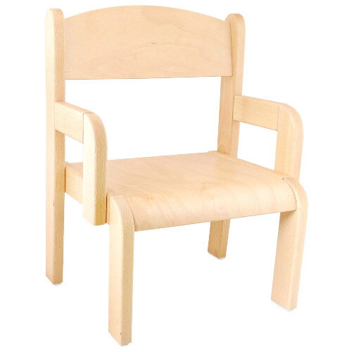Toddler Chair with Armrets - 26cm - Supports Correct Posture, Eliminates Pressure - Material: Beech wood - Colour: Natural Wood