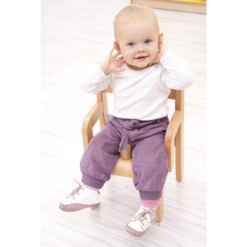 Toddler Chair With Armrest And Anti Slip Bar - 21cm - Correct Posture Support - Anti Slip Bar - Natural Wood Colour