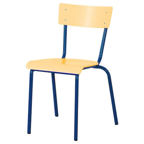 Traditional Plywood Classroom Chair With Waterfall Seat Size 2 310mm Seat Height 4-5 Years Blue Steel Leg