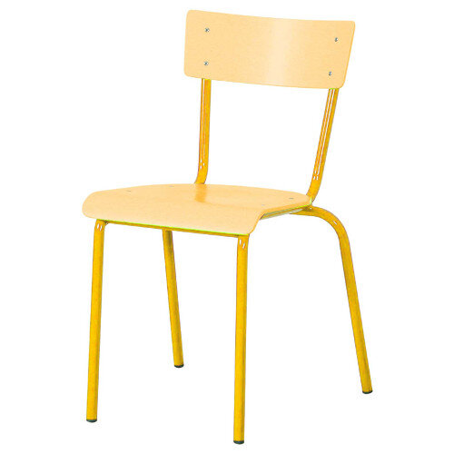 Traditional Plywood Classroom Chair With Waterfall Seat Size 2 310mm Seat Height 4-5 Years Yellow Steel Leg