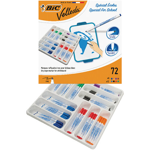 Bic Velleda 1721 Fine Marker Assorted Pack of 72 875790