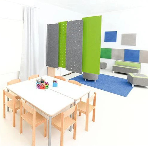Rectangular Silencing Barrier With Holes - Dimensions: 0,8cm x 60cm x 180cm - 56 x 2cm Holes - Colour: Green