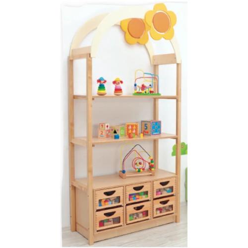 Flexi Set - Roof, Decorational Flower, Shelf, Frames, Cabinet, Boxes and Slides - Natural Wood