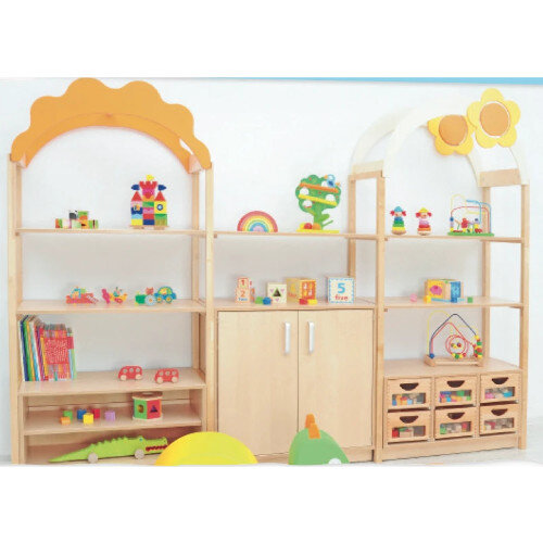 Room Scene Set of Furniture Cabinets, Shelves, Partirions, Wooden Frames, Flexi Roof, Slide Guides Set - Natural Wood
