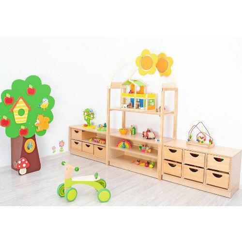 Room Scene - Cabinet with Partitions, Shelf, Flexi Roof, Woode Frames, Slide Guides