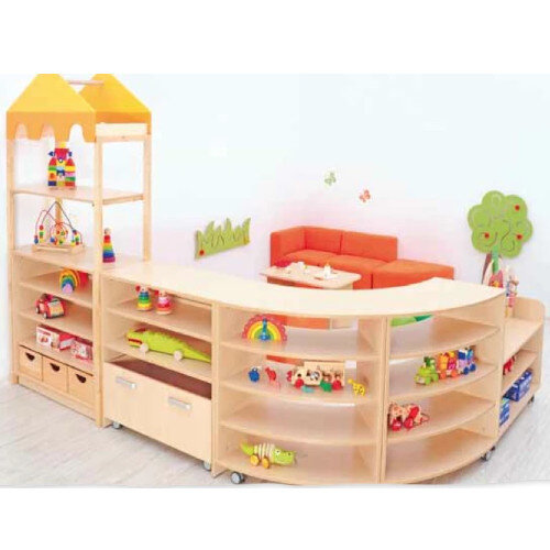 Room Scene - Furniture Set - Cabinets with Wheels, Shelf Corners, Container, Wooden Frames, Flexi Roof