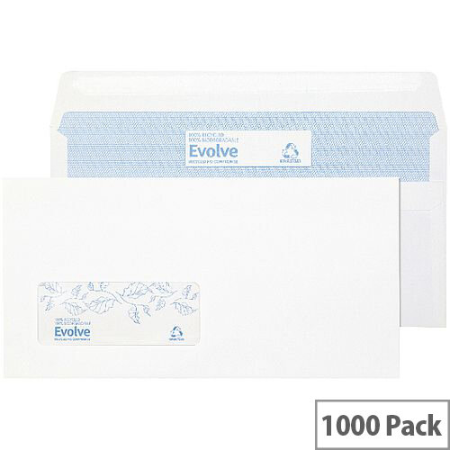 Evolve DL Recycled Window Envelopes Self Seal White 90gsm Pack of 1000