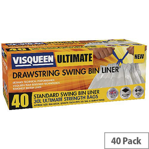 Visqueen Ultimate Swing Bin Liners 30 Litre Drawstring White Pack of 40 liners