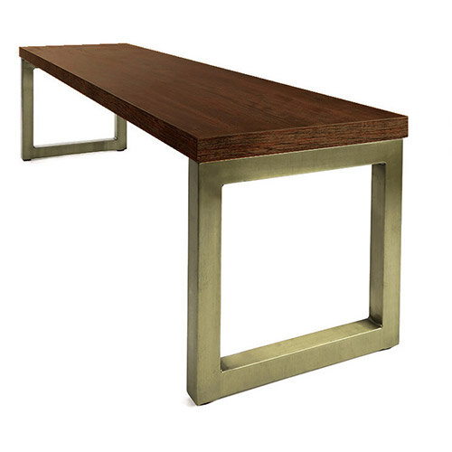 Frovi BLOCK STEEL RUSTIC Bench Seat W950mm For 1200mm Table With Vintage Brass Hoop Leg Frame &Rust Top W950xD400xH400mm
