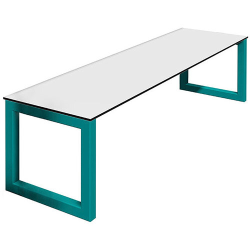 Frovi BLOCK STEEL Outdoor White Top &Black Edge Bench Seat W2000mm For 2200mm Table With Hoop Leg Frame W2000xD400xH400mm