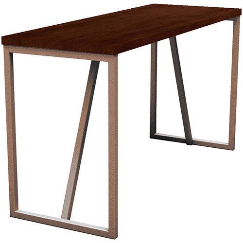 Frovi BLOCK STEEL RUSTIC Medium High Poseur Bench Table With Vintage Copper Hoop Leg Frame &Rust Top W1900xD700xH1050mm