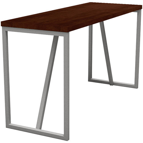 Frovi BLOCK STEEL RUSTIC Large High Poseur Bench Table With Raw Steel Hoop Leg Frame &Rust Top W2300xD700xH1050mm