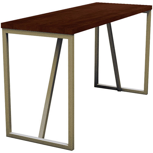 Frovi BLOCK STEEL RUSTIC Large High Poseur Bench Table With Vintage Brass Hoop Leg Frame &Rust Top W2300xD700xH1050mm