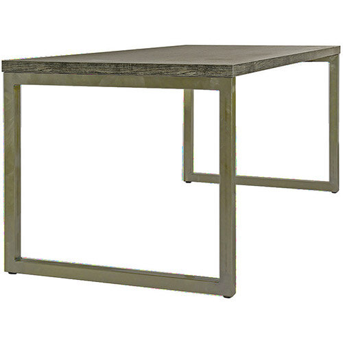 Frovi BLOCK STEEL RUSTIC Small Bench Table With Vintage Brass Hoop Leg Frame &Driftwood Top W1200xD800xH730mm