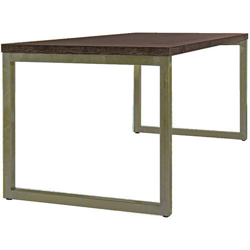 Frovi BLOCK STEEL RUSTIC Medium Bench Table With Vintage Brass Hoop Leg Frame &Rust Top W1800xD800xH730mm